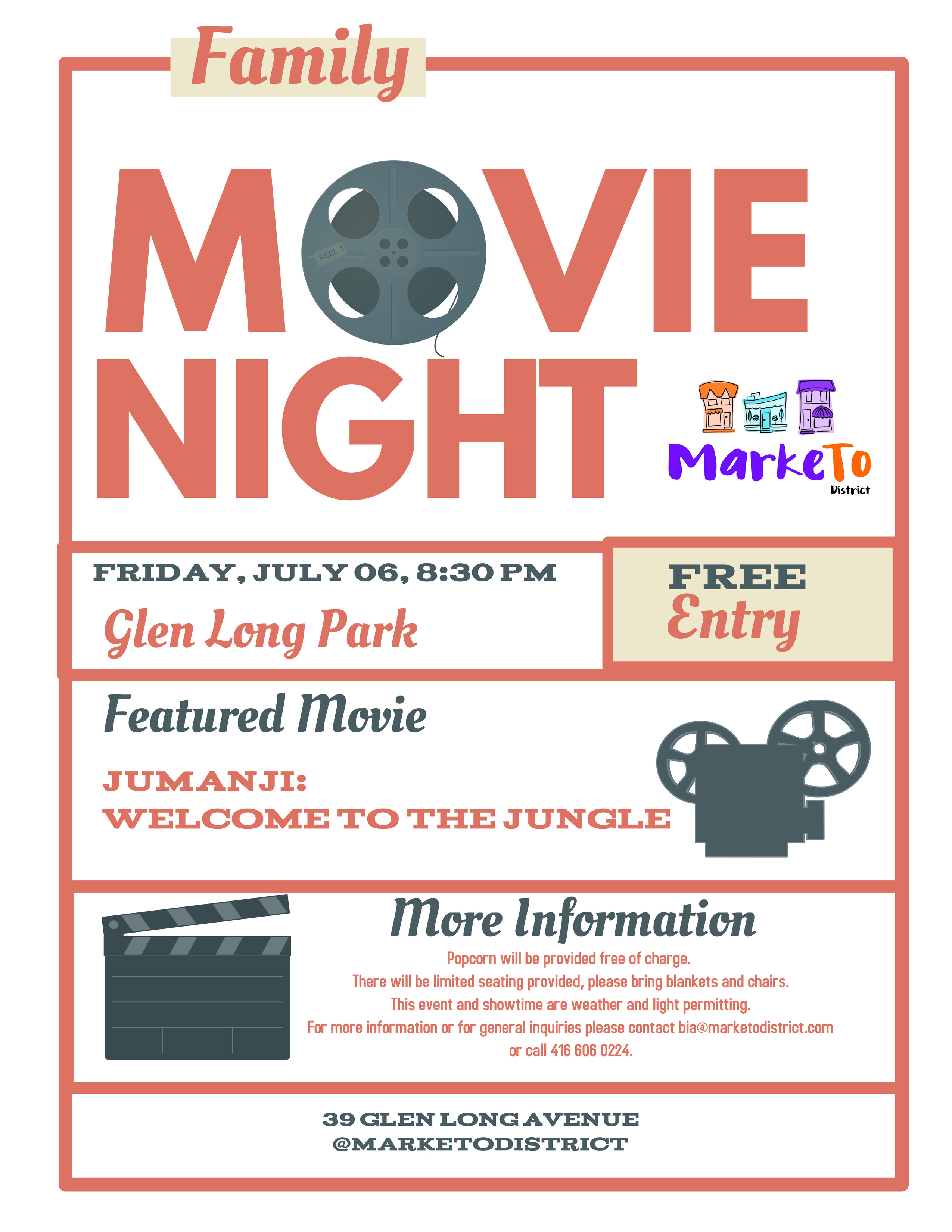 The Marketo District is proud to announce our 2nd annual Movie Night will be held on July 06, at 8:30 PM in Glen Long Park. Entrance is free and popcorn is on us. Please bring something to sit on, and keep an eye on our twitter account (@MarketoDistrict) for updates relating to weather. The movie will be Jumanji: Welcome to the Jungle.  See you soon!