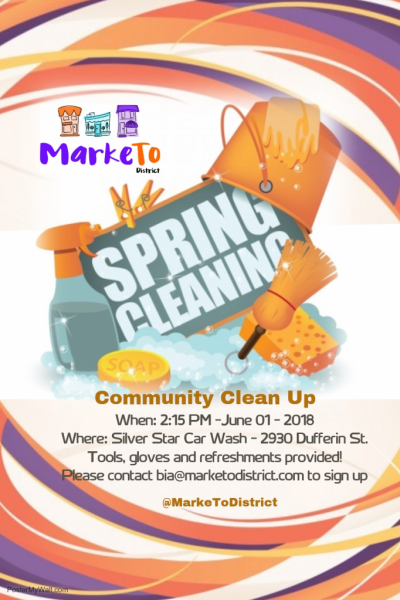 The MarkeTo BIA held its first major Community Clean Up of the year, with participants from several businesses and Fieldstone Day School. Meet up will be at Silver Star Car Wash, with water and pizza served after behind Pauline Books