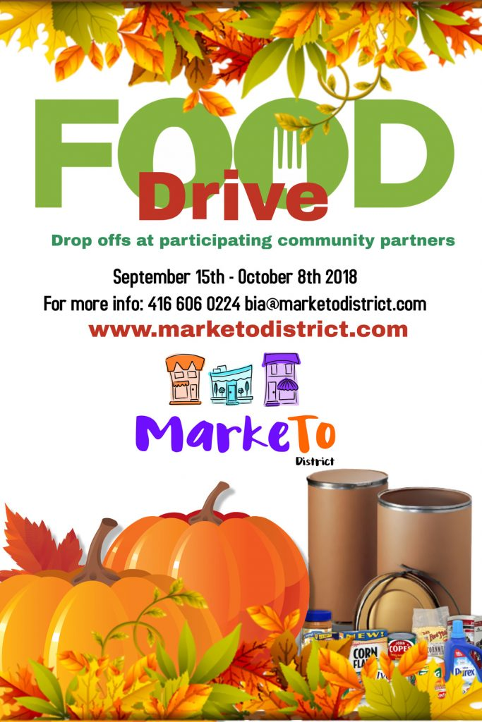 MarkeTo District BIA Fall Food Drive September 15th to October 8th 2018