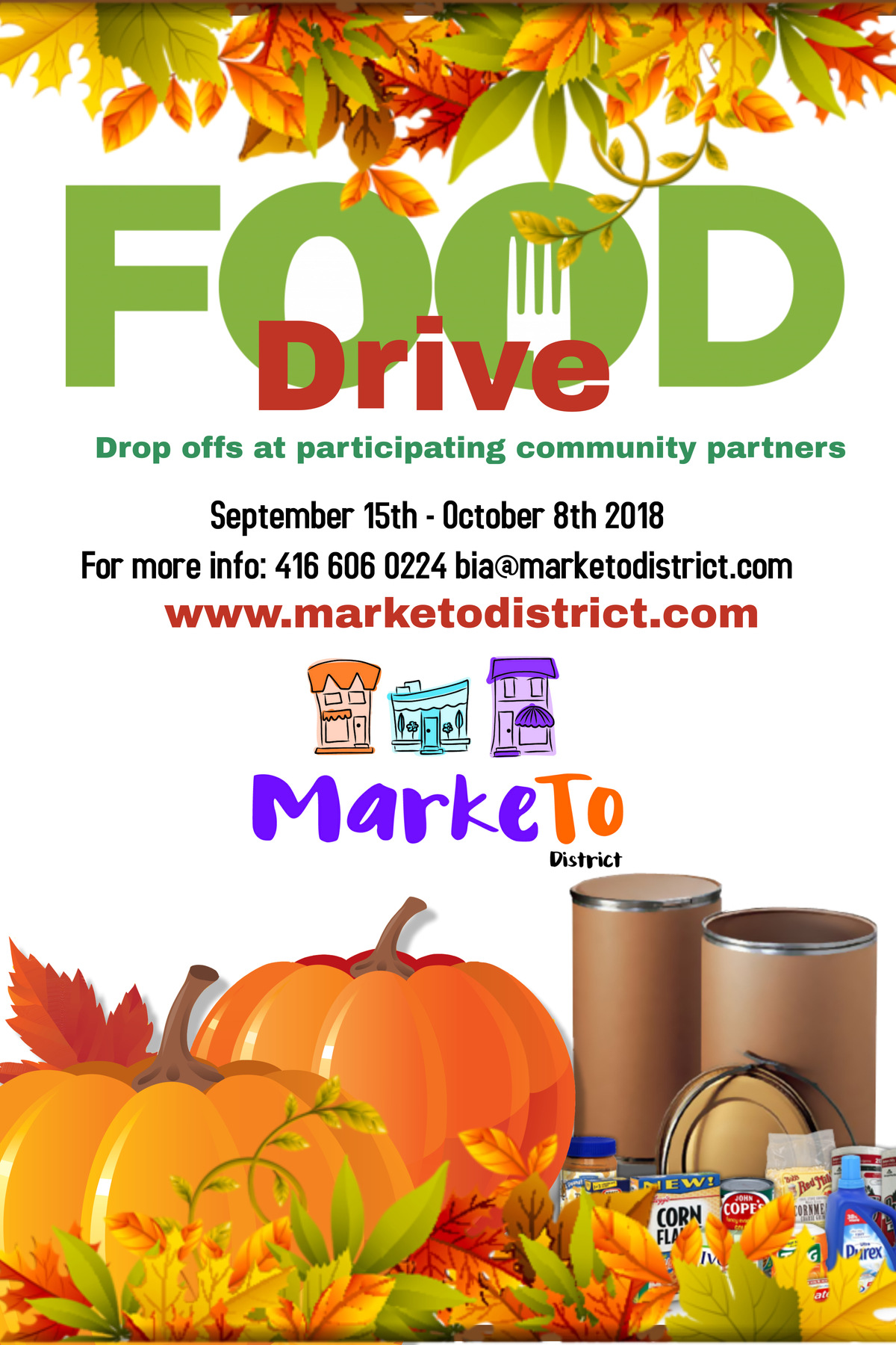 MarkeTo District Fall Food Drive September 15 - October 8 2018