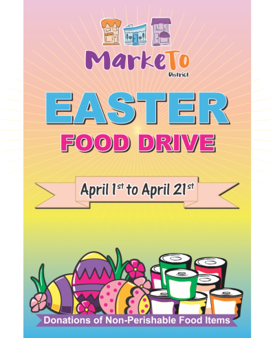 The MarkeTo District BIA has commenced its Easter Food Drive. To Donate, please visit any one of our participating community partners.  The Food Drive will run from April 1st until April 21.  Please Donate - All donations will be going to North York Harvest Food Bank.
