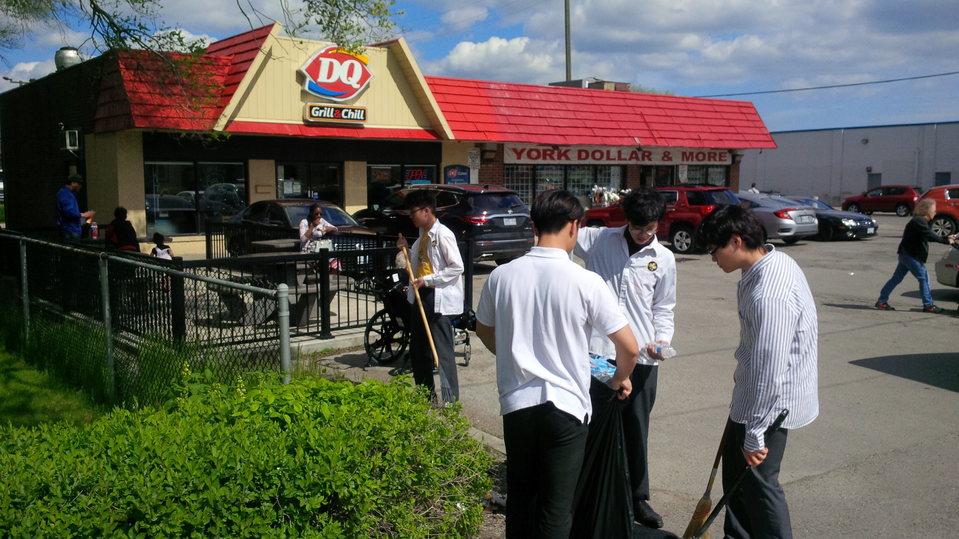 Volunteers cleaning up dairy queen
