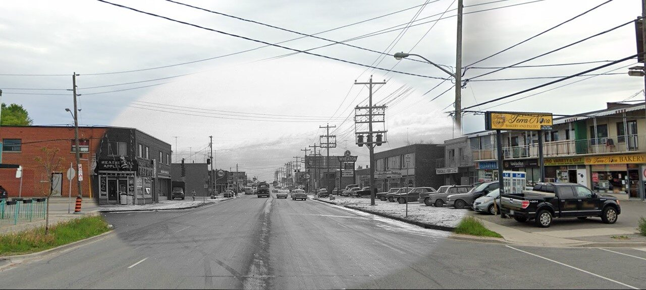 Here is a snapshot of Dufferin Street at Glen Park Avenue. In the left hand corner of the photograph, you can see the Bad Boy's furniture store that stood at the corner of Dufferin Street and Glen Park Avenue.  The street looks pretty similar after 50 years, only big difference are the amazing vintage cars!