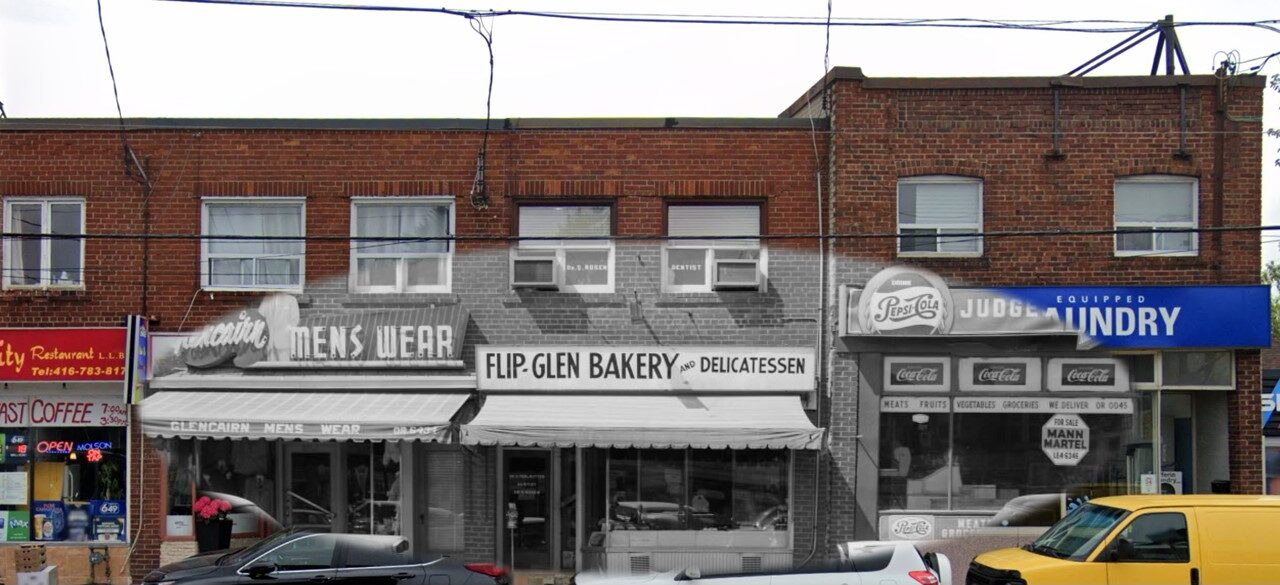 This strip mall looks a lot different now 50 years later. Where Glencairn Men's Wear stood is now Esto Es Colombia, a vibrant and cozy restaurant serving authentic Colombian cuisine. Flip-Glen Bakery