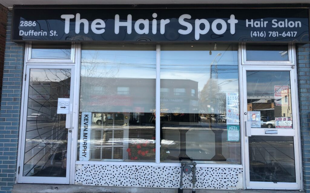 The exterior of The Hair Spot salon at 2886 Dufferin Street.