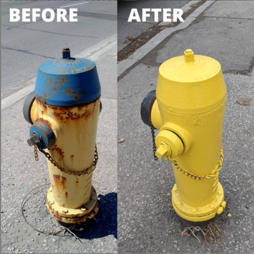 Comparison of two fire hydrants, left is rusted and right is freshly painted with yellow